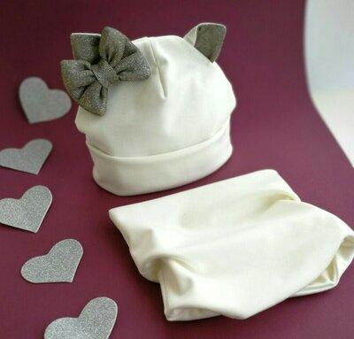 Осенний комплект Кошечка шапка снуд для девочек