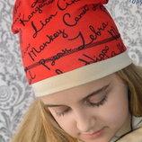 Комплект шапка и хомут для мальчика для девочки надписи красные беж