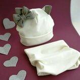 Весенний комплект Кошечка шапка снуд для девочек