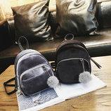 Милые бархатные велюровые рюкзаки с помпоном