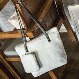 Милая меховая плюшевая сумка с мини клатчем