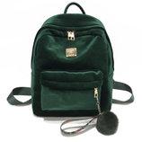 Большой бархатный велюровый рюкзак с помпоном для модных девушек