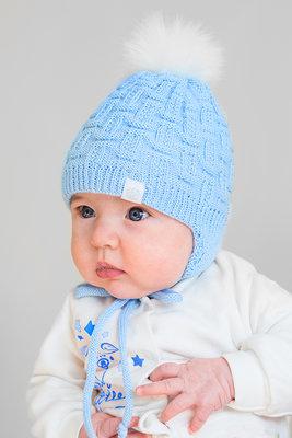 зимняя вязанная шапочка на флисе для новорожденного мальчика