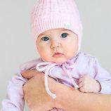 Вязаная зимняя шапка на флисе для новорожденной девочки розовая
