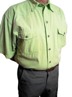 Фирменная джинсовая рубашка gintonik салатового цвета, большой размер