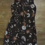Легкое платье футляр насыщенного коричневого цвета в цветочный принт / сарафан esprit