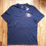 Мужская футболка Хенли синего цвета размер М, 16-20 Ю