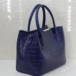 Синяя женская сумка из экокожи