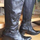 Итальянские черные сапоги, кожа, 39 размер, стелька 27 см, узкий носок, узкачки, ковбой, осень