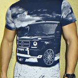 Мужская футболка с принтом 3D Brabus. Синяя.