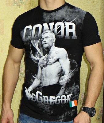 Мужская футболка с принтом 3D Conor McGregor. Черная.