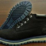 Средней высоты мужские зимние ботинки Timberland All Black. Натуральный нубук и мех