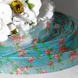 Продам ленты из органзы с рисунком Розы Ширина ленты 1,5 см. Цена за 1 м