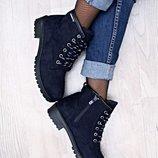 Распродажа Женские ботинки сапоги сапожки демисезонные евро зима под Timberland Синие