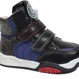 Демисезонные ботинки для мальчиков Солнце арт.PT85-1A black c 21-26 р.