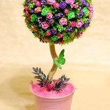 Большой топиарий - дерево счастья, подарок на 8 Марта, день рождения