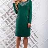 Стильное платье , батал, зеленый, марсала