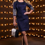 Красивое элегантное платье с вышивкой с эко-замши 902