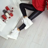 р.36-41 Сникерсы деми ботинки кожа натуральная итальянская замша ленты шелк хаки, кроссовки кросовки