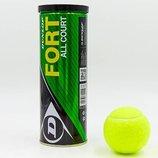 Мяч для большого тенниса Dunlop 602193 Fort All Court 3tin 3 мяча в вакуумной упаковке