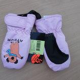 перчатки краги варешки розовые девочке 1 год детские теплие утеплитель с бирками новые розовые
