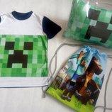 Футболка майнкрафт Minecraft с крипером трикотажная для мальчика