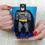 Авторская чашка.кружка Бетмен.декорированая полимерной глиной