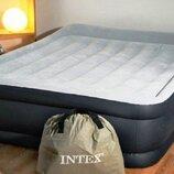 Двухспальная надувная кровать Intex 64136 серая с насосом 220В
