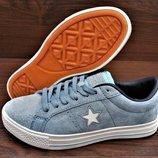 Голубые женские кроссовки кеды Converse All Star