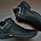 Черные мужские ботинки кроссовки зимние Ecco Biom. Натуральная кожа и мех