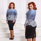Женская стильная юбка в больших размерах 1357 Трикотаж Классика .