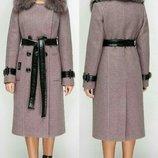 Пальто зимнее, расцветки, Пальто женское полушерстяное с мехом песца на ватине, р.44-46-48-50-52-54