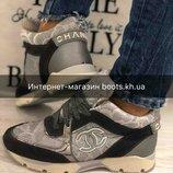 35 размер Кроссовки с гипюром Chanel Шанель реплика.Обувь весна 2018