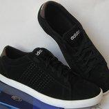 Мужские Кроссовки Adidas Stan Smith Натуральная кожа замша Кеды Aдидас Стен Смит черные