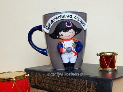 Авторская чашка.кружка с декором из полимерной глины Наполеон