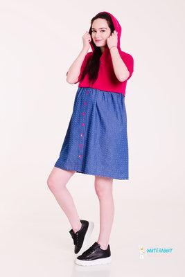 Повседневное спортивное платье с капюшоном Swetty красный
