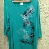 Фирменная футболка салатового цвета, 48р. 52-58