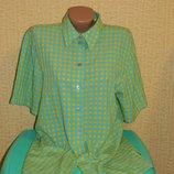 Рубашка туника в клетку голубой с салатовым и желтым р. 48-50