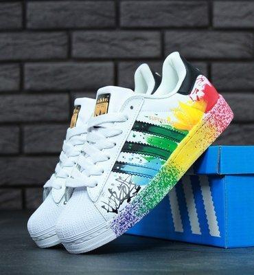 Adidas Superstar Rainbow Paint Splatter White Black Fashion