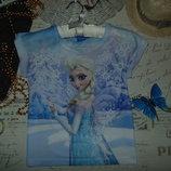 7-8 лет.Футболка Disney Frozen.Мега выбор обуви и одежды