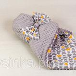 Конверт -одеяло плед на выписку Бабочки на сером - весна, осень