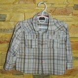 Детская рубашка белая в коричневую клетку на кнопках George на мальчика 1,5-2 года