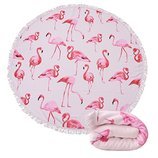 Круглое пляжное полотенце Фламинго. Микрофибра