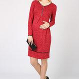 Стильное платье для беременных и кормящих из теплого трикотажа
