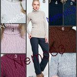 Женский свитер вязаный теплый вязка рисунком с косами и жгутами свитерок под горло