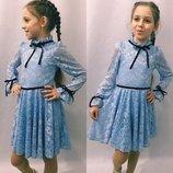 Платье гипюр небесный цвет