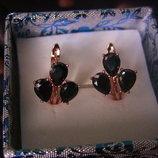 медицинское золото/медичне золото, сережки, позолота 14К, розмір 16Х13 мм