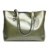 Кожа. Большая сумка на плечо. Зеленый