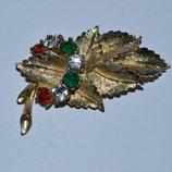 старинная брошь листок с камнями клеймо винтаж Англия хорошее состояние