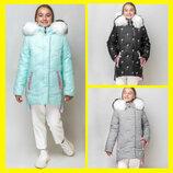 Зимняя куртка для девочки ZKD-14 рр 122-164 Фламинго